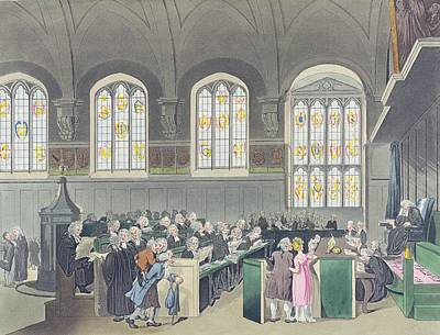Court Of Chancery, Lincolns Inn Hall, Engraved By Constantine Stadler Fl.1780-1812, 1808 Coloured Poster