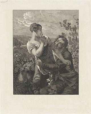 Courting Couple In A Vineyard, Anonymous Poster by Anonymous And Peter Paul Joseph No?l