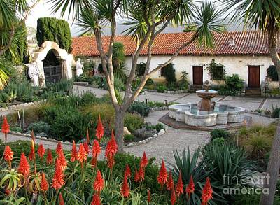 Courtyard Of The Carmel Mission Poster