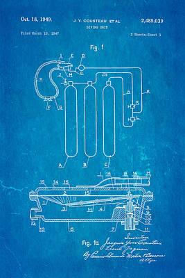 Cousteau Diving Unit Patent Art 1949 Blueprint Poster by Ian Monk