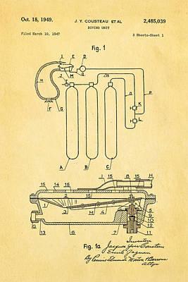 Cousteau Diving Unit Patent Art 1949 Poster by Ian Monk