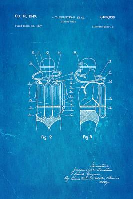 Cousteau Diving Unit Patent Art 2 1949 Blueprint Poster by Ian Monk