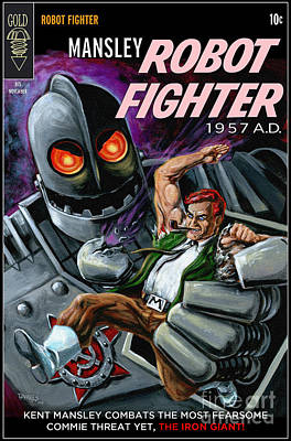 Cover To Mansley Robot Fighter Poster by Mark Tavares