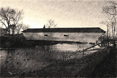 Covered Bridge Elizabethton Tennessee C. 1882 Sepia Poster by Denise Beverly