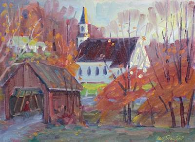 Covered Bridge In Autumn Poster by Len Stomski