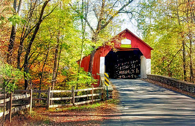 Covered Bridge In Bucks County Poster