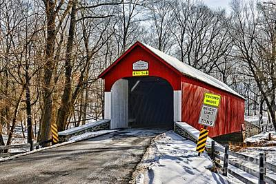 Covered Bridge In Winter  Poster by Paul Ward