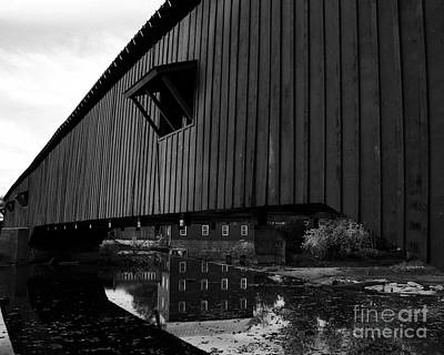 Covered Bridge Reflections Bw Poster by Mel Steinhauer