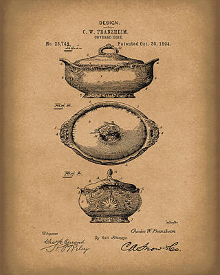 Covered Dish 1894 Patent Art Brown Poster by Prior Art Design
