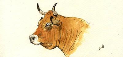 Cow Head Study Poster by Juan  Bosco