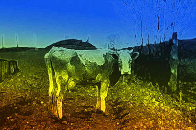 Poster featuring the digital art Cow On Lsd by Cathy Anderson