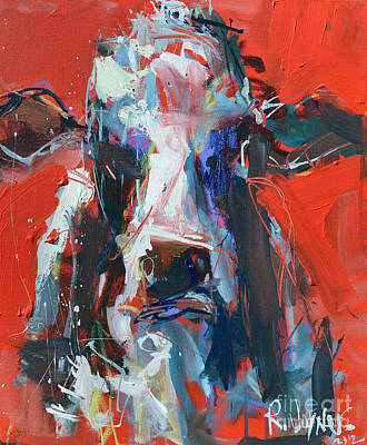 Cow On Red Poster by Robert Joyner