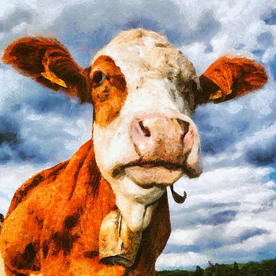 Cow Portrait Painting Poster