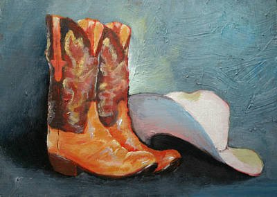 Cowboy Boots And Hat Poster