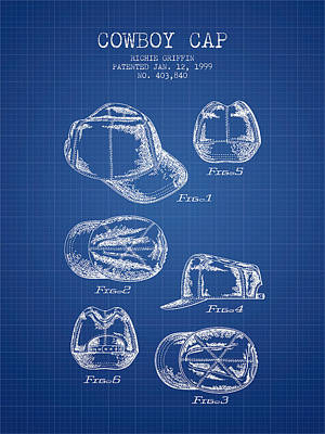 Cowboy Cap Patent - Blueprint Poster by Aged Pixel