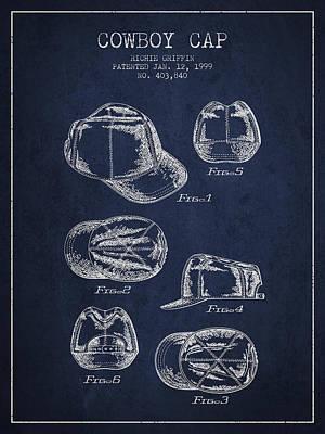 Cowboy Cap Patent - Navy Blue Poster