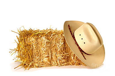 Cowboy Hat On Straw Bale Poster by Olivier Le Queinec