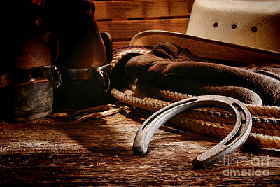 Cowboy Horseshoe Poster by Olivier Le Queinec