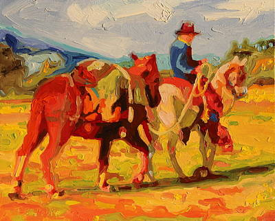 Poster featuring the painting Cowboy Art Cowboy Leading Pack Horse Painting Bertram Poole by Thomas Bertram POOLE