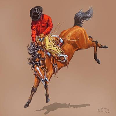 Cowboy On A Bucking Horse Poster by Randy Follis