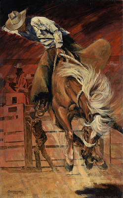 Cowboy On Bucking Horse Poster