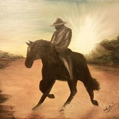Cowboy On The Range Poster by Isabella F Abbie Shores FRSA