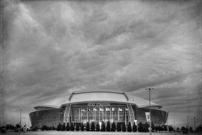 Cowboy Stadium Bw Poster by Joan Carroll