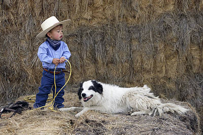 Cowboy With Border Collie Poster by M. Watson