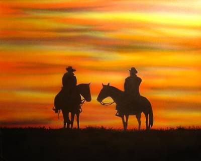 Poster featuring the painting Cowboys At Sunset by Chris Fraser