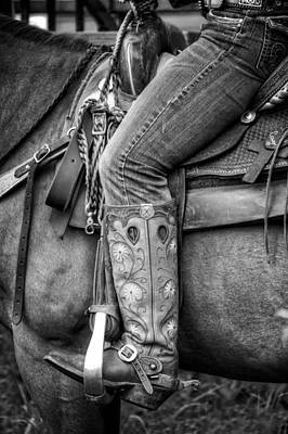 Cowgirl In Black And White Poster