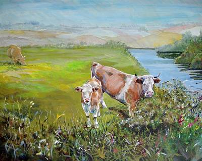 Cows By River Poster