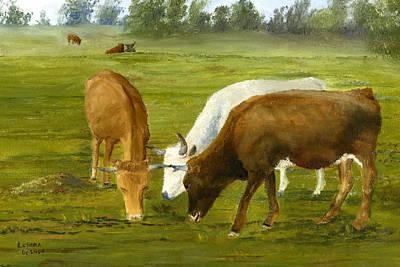 Poster featuring the painting Cows Gossip Session In Louisiana Pasture by Lenora  De Lude