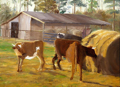 Cows Hay And Barn In Louisiana Poster by Lenora  De Lude