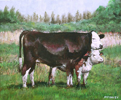 Cows In Field Demo Small Painting Poster by Martin Davey