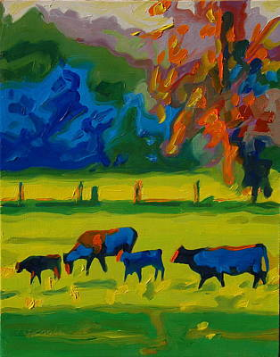 Cows In Texas Field At Sunset Oil Painting By Bertram Poole Poster