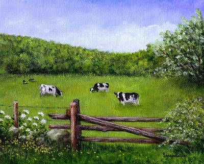 Poster featuring the painting Cows In The Pasture by Sandra Estes