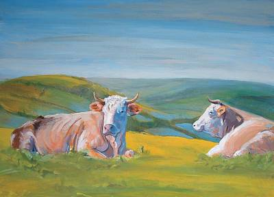 Cows Lying Down Painting Poster