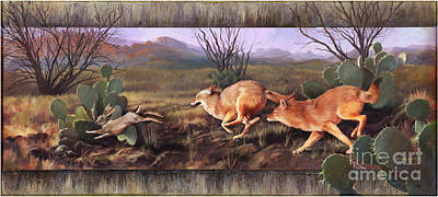 Poster featuring the painting Coyote Run With Boarder by Rob Corsetti