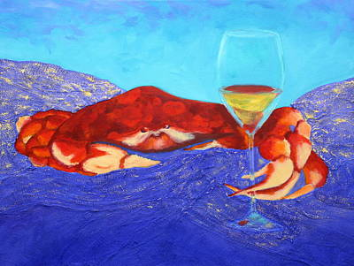 Crab And Chardonnay Poster by Nancy Jolley