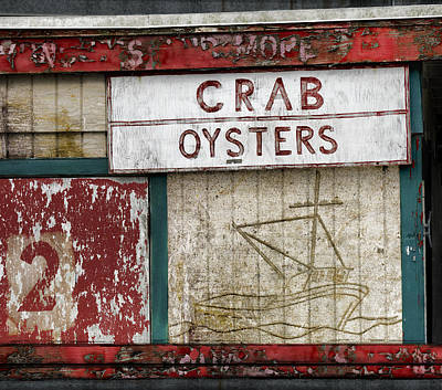 Crab And Oysters Poster by Carol Leigh