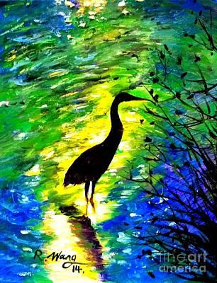 Crane In Lake Poster