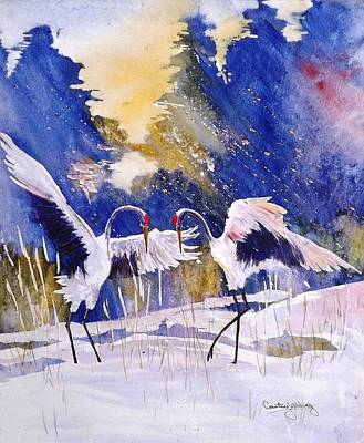 Cranes In Winter Inspired By Quan Zhen Poster
