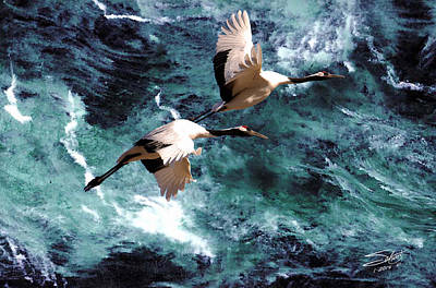 Cranes Over The Sea Of Japan Poster