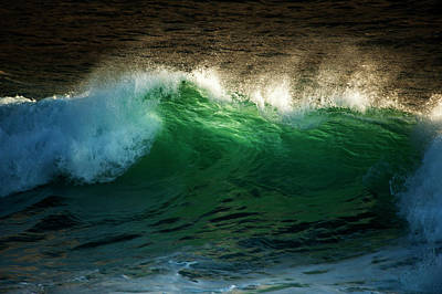 Crashing Wave With Translucent Green Poster by Sheila Haddad