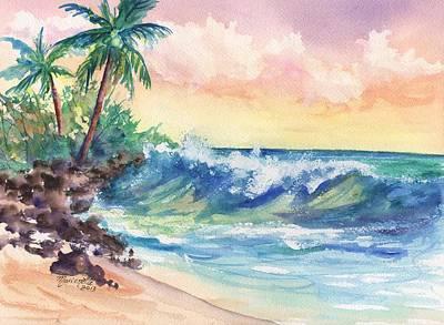 Crashing Waves At Sunrise Poster