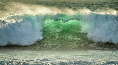 Crashing Waves, Carmel, Ca, Usa, Green Poster by Sheila Haddad