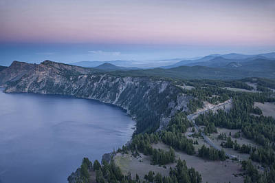 Crater Lake Sunset Poster by Melany Sarafis