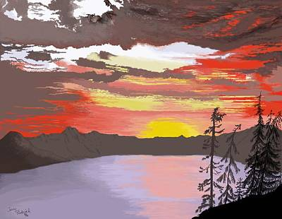 Poster featuring the digital art Crater Lake by Terry Frederick