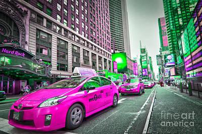Crazy Cabs In Manhattan Poster