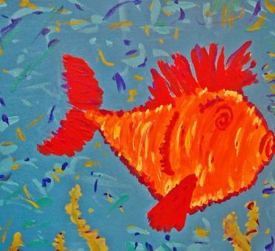 Poster featuring the painting Crazy Fish by Yshua The Painter
